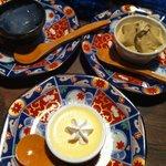 うなぎ屋たむろ多真 - デザート3種 プリン、レモン寒天、ほうじ茶ソフト