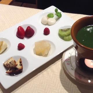 新しさも開晴亭です抹茶フォンデュをデザートに追加しました。