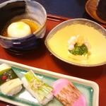 63064271 - 山菜寿司、じゃが芋のそぼろ饅頭、卵豆腐と菜の花のゼリー寄せ