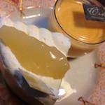 63109161 - プリン、洋梨のケーキ