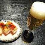つるとんたん - 穴子棒寿司  小、 ランチ生ビール