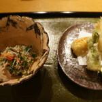 63116790 - 蟹の和え物、白魚、タラの芽、筍の天婦羅