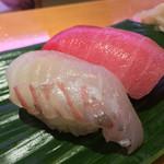 ひょうたん寿司 - ひょうたん寿司(福岡県福岡市中央区天神)旬のおまかせにぎりセット〜ヒラメ・中トロ