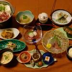 膳処くろひめ - 糸魚川名物「翠鶏」(みどり)コース5400円です。宴会にご利用ください。