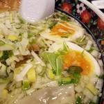 あじさい - スープに散りばめられている水菜が美しい