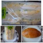 F - ◆卵サンド(258円)・・マヨネーズで和えた「ゆで卵」とスライスした胡瓜がサンドされています。 普通に美味しいかしら。 ◆右下:塩パン(90円)