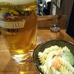 呑処 ひろし櫻 - 生ビールとお通しのマカロニサラダ