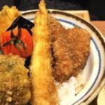 63146587 - 野菜ヒレカツ丼@930円(ヒレカツ2、ブロッコリー、ナス、カボチャ、トマト、ヤングコーン)