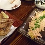 たつのおとしご - 手羽先の黒胡椒揚げと玉子焼明太マヨ