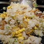 らあめん花月嵐 - 鐵板豚バラザーサイ炒飯(570円)自分で混ぜ混ぜ
