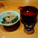 さらしなの里 - 『鶴の友』純米¥700-『菜の花からし和え』¥ 500- (外税)