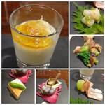 ISHIDA - *左上:カリフラワーのムース、タラバカニのせ、コンソメジュレがけ*右上:水蛸の山葵和え。*右中:ホタルイカと菜の花の酢味噌和え