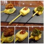 ISHIDA - ◆左:芽キャベツ・自家製肉みそのせ。肉みそがいいお味。 ◆中:フォアグラ・蜂蜜入りハニーソースで◆右:カナトフグ・メカブやモズクを合わせたもののせ。