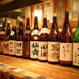 鍋島、作、新政など約50種の厳選日本酒と和酒