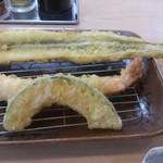 天ぷら はまや - ・上定食 1000円 アナゴ、大エビ、カボチャ