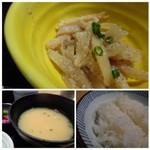 海山邸 - ◆上:胡麻和えですがいいお味でした。 ◆左下:お味噌汁は薄め。 ◆右下:ご飯は普通に美味しい