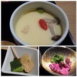 海山邸 - ◆茶碗蒸し・・卵汁のお味が好みではないですね。 小さくカットした「鶏肉」や「しめじ」などが入っていますが、「銀杏」が入っていないのは残念。 ◆デザートは「わらび餅風」