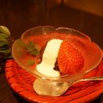 創作和食 田 - デザート…苺、自家製小豆にマスカルポーネ