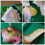 シュタットマインツ - *右上・・上質なハム美味しい。 *左上・・ポテトサラダとベーコン。 *右下・・キッシュ。 *左下・・鰤のカルパッチョ。