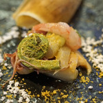 63274556 - 熊本県産はしりの筍、北海道噴火湾産ボタン海老、色々な山菜のマリネ アーリオ・オーリオの残雪