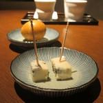 酒の九州 - ゴルゴンゾーラチーズ(ピカンテ) 400円、燻製半熟たまご(佐賀) 300円