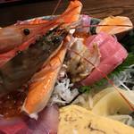 63312205 - 極上海鮮丼(アップ)イクラ、ハマチ、タマゴ、ホ帆立、中トロ、あん肝、シラス、見えないが下にねぎとろ