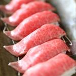 吉祥庵 - 料理写真:希少部位 みすじの炙り寿司 希少部位「ミスジ」を使った炙り寿司