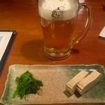 Hidaizakayakurasuke - 生ビールとお通し
