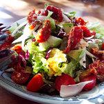 バックシュトゥーベ - 生野菜とセミドライトマトのサラダ、L、900円。