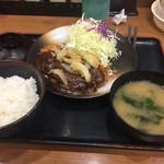 松乃家 - 2017年3月。デミカツ定食600円。