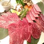 肉の割烹 田村 - 【2017/2】北海道牛上セット(葱塩タレ付き)