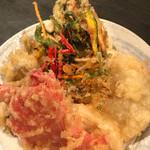 63370478 - 野菜かき揚げ、紅生姜、ガッチョ、玉ねぎ