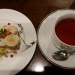 フタツボシ カフェ - ランチにつけたデザートとドリンク