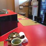 63374739 - 天ぷら鍋を中心とした厨房をコの字型に囲む様にカウンターが作られている
