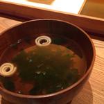 鮨与志乃 - 青海苔のお吸物