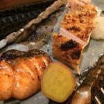 GINZA 水野 - 焼物:鱒/信玄鶏