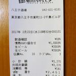 八王子酒場 情熱ホルモン - レシート