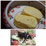 備長 - ◆出汁巻玉子・・薄味ですが、鰻と共に頂くには丁度いいかも。 ◆野菜サラダは普通、キャベツ多め。