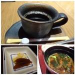 備長 - ◆珈琲は薄めで、食後には飲みやすい。 ◆香の物。奈良漬が美味しい。 ◆お吸い物か赤出汁を選べますので「赤出汁」を