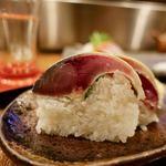 おさかなや 魚魚権 - 今日の押し寿司 一貫200円x2