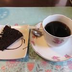 五穀 - 食後のコーヒーとミニデザート。 ドリンクはコーヒー(ホット・アイス)・紅茶・野菜ジュース・ウーロン茶・コーラから選べます。