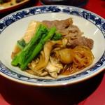 日本酒と蕎麦 中野いざ宵 - かえしを使った牛すき煮