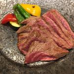 西屋 - 黒毛和牛のももステーキです( ^ω^ )