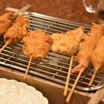 串とも - ビールセットの串揚げ(肉しそ以外の6本)
