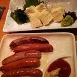 京居酒屋 シェリー - 湯葉お造り、ソーセージ盛り合わせ