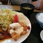 外山食堂 - 2017-03-04訪問 「ハーフ&ハーフ(トンテキ&チキン南蛮)」「①1100yen