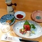 相馬 - 料理写真:相馬@鶴ヶ峰 晩酌セット(刺身3点盛り、かにみそ、高清水)