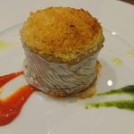 63523664 - 太刀魚のベッカフィーコ パプリカのソース、サルサ ヴェルデ、オレンジの香り