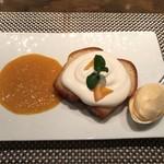 ホテル ラ・スイート神戸ハーバーランド - 〜炎の演出で仕上げる特製デザート〜 +1000円:「心」特製ババのフランベ オレンジソースとヴァニラアイスを添えて