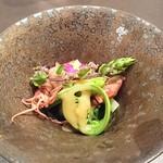 魚貝三昧 げん屋 - 先付け  ホタルイカと春野菜の酢味噌がけ